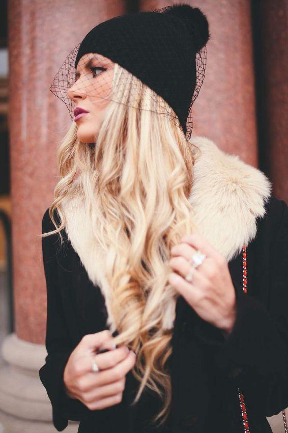 вязаные шапки с вуалью фото