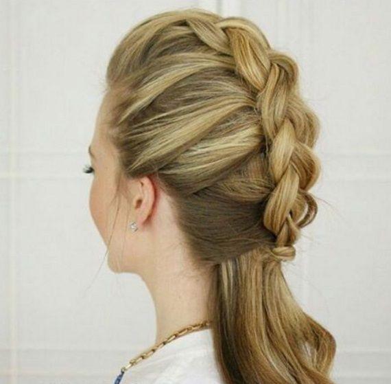прическа коса на палочке