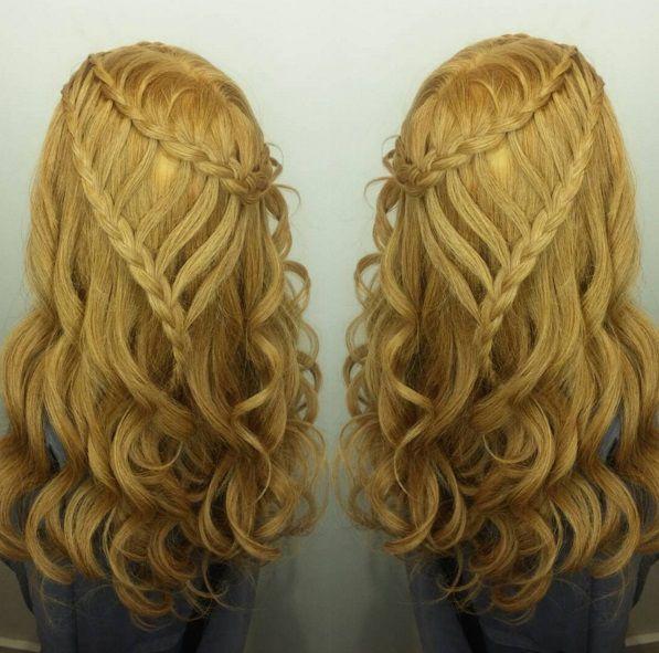 прически с косами и распущенными волосами