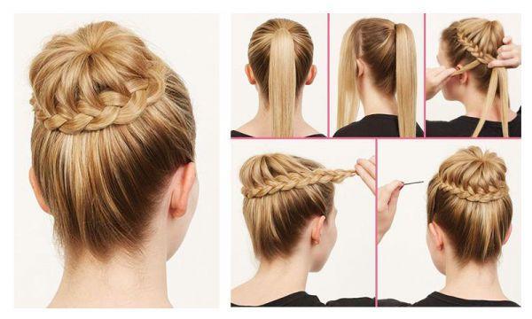 коса под гулькой схема плетения
