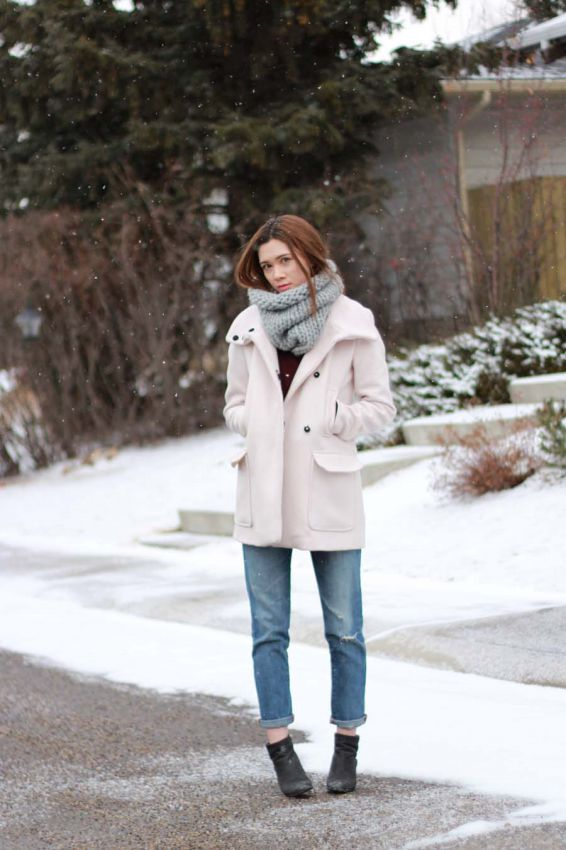 как носить шарф снуд с пальто фото