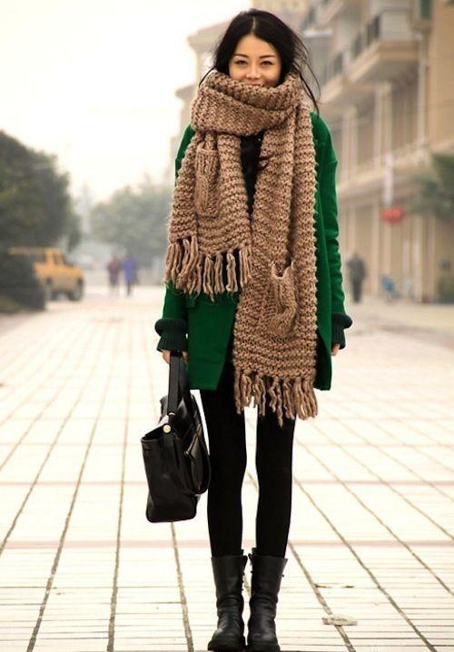 шарф на зиму крупной вязки с бахрамой фото