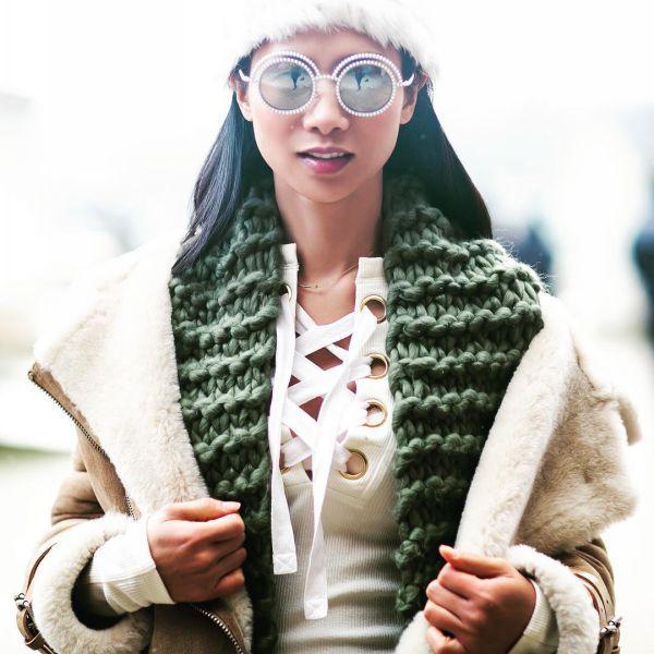 модные шарфы крупной вязки