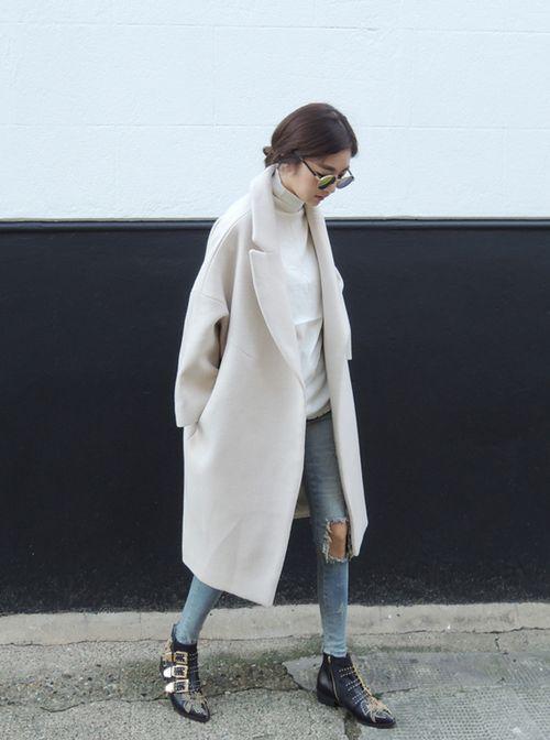 стильное длинное кашемировое женское пальто