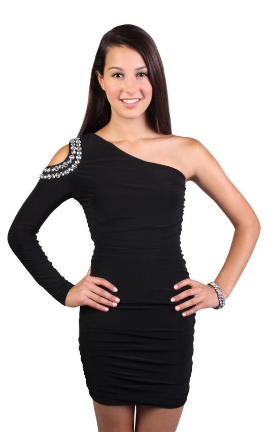 среднее платье футляр на одно плечо