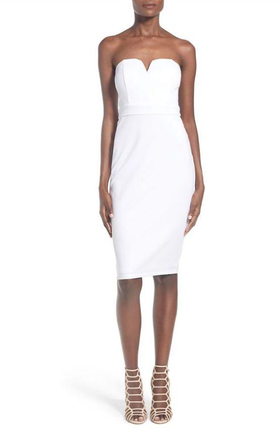 белое платье футляр без бретелек