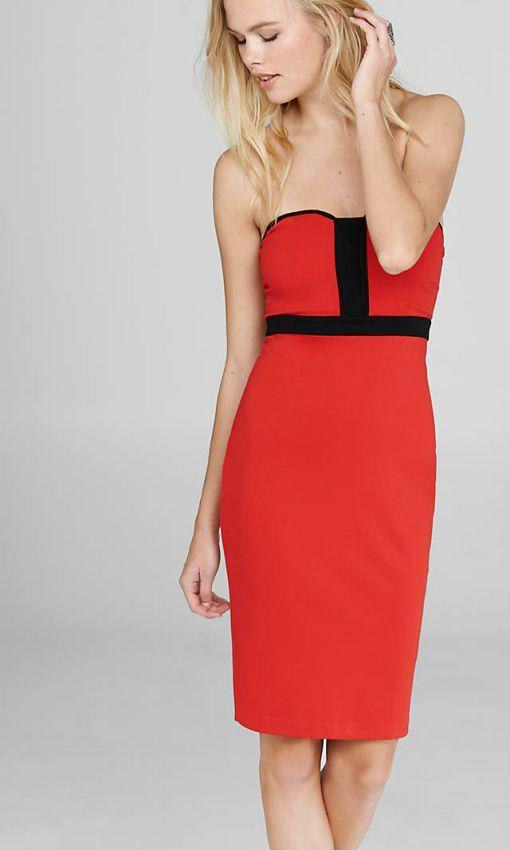 красное с черным платье футляр без бретелек
