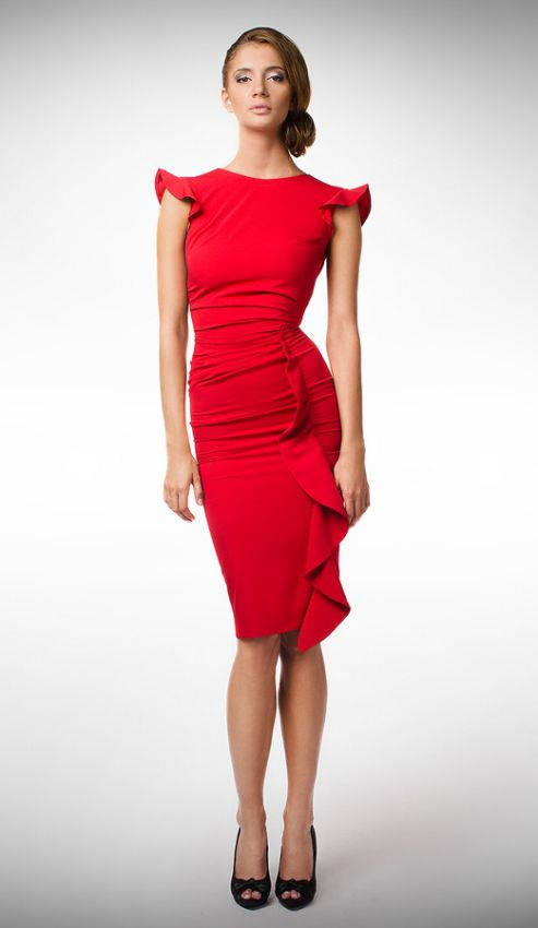 красное платье футляр с рукавом фонарик