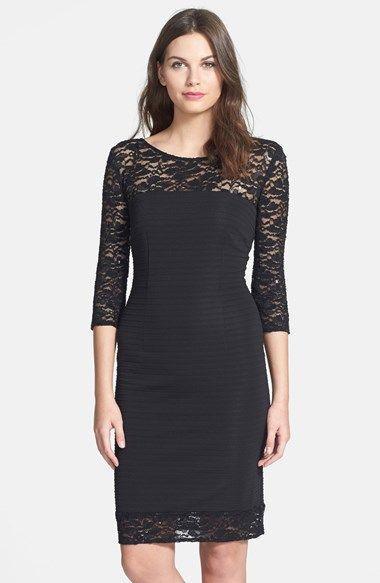 черное платье футляр с кружевом