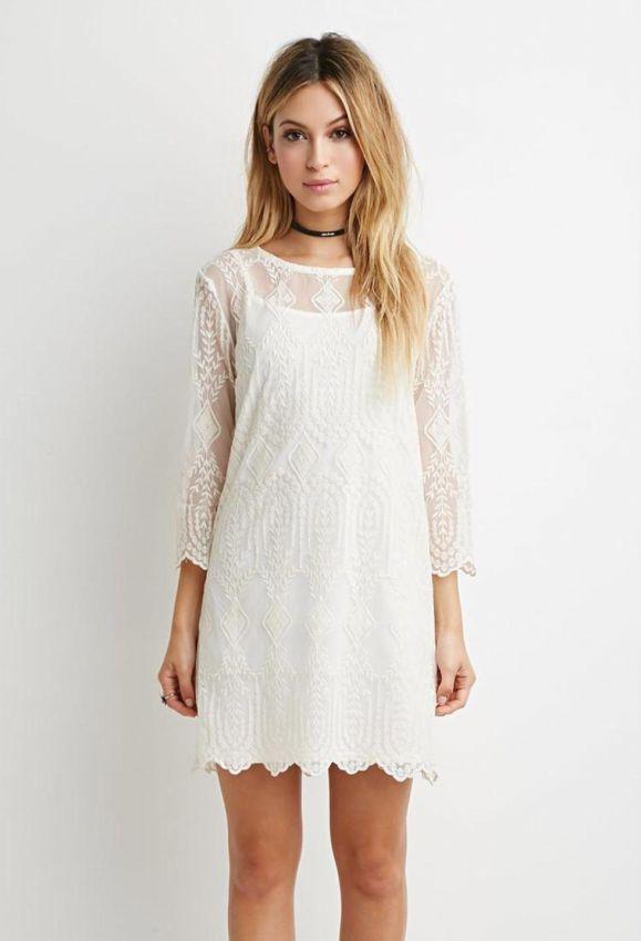 белое маленькое платье футляр с рукавом три четверти фото