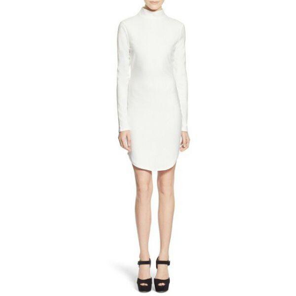 белое платье футляр с длинным рукавом фото