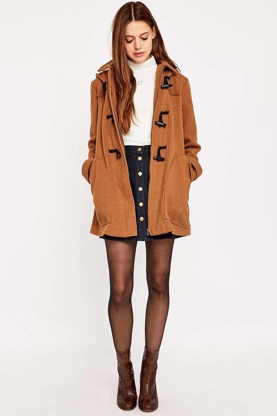 коричневое женское пальто дафлкот фото