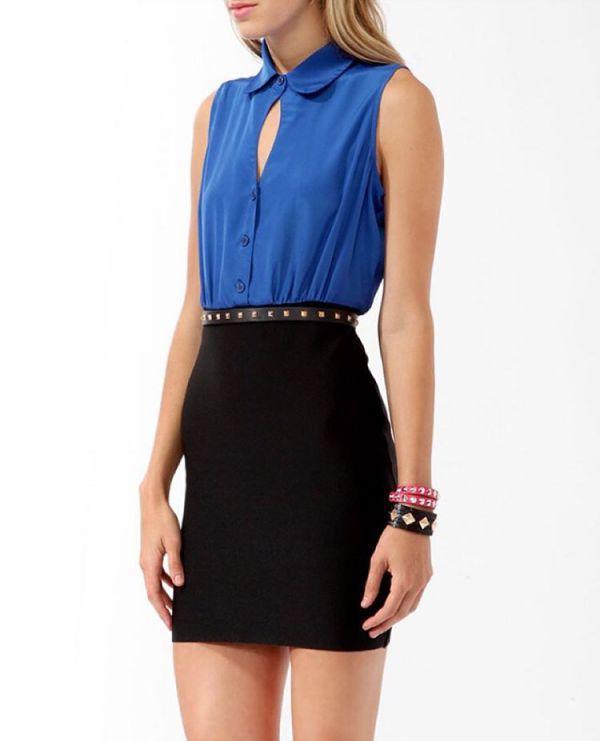 стильное синее-черное платье футляр