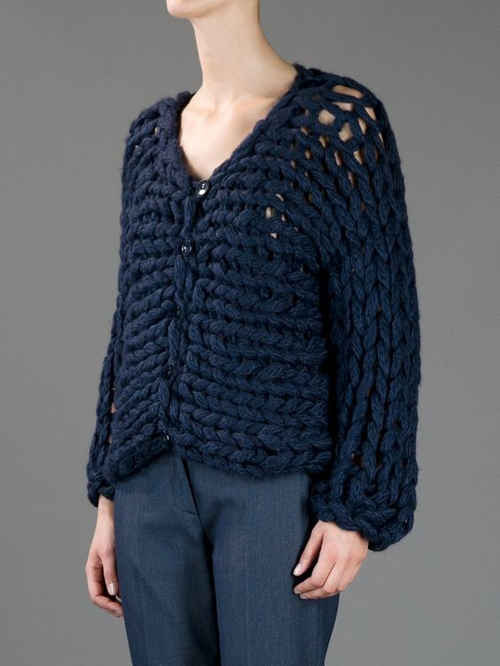 синий кардиган пиджак крупной вязки