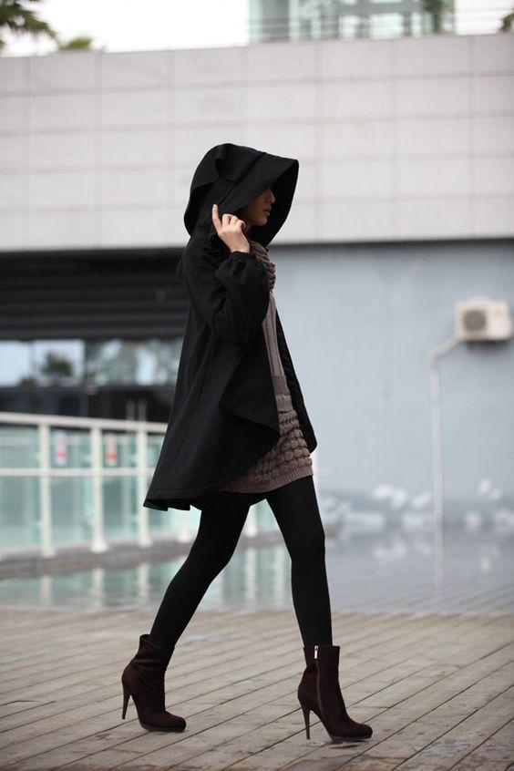 черное женское пальто с капюшоном фото