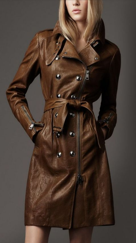 женское кожаное пальто фото
