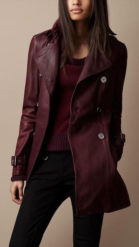 женское кожаное утепленное пальто