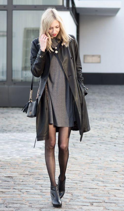 с чем носить черное кожаное пальто