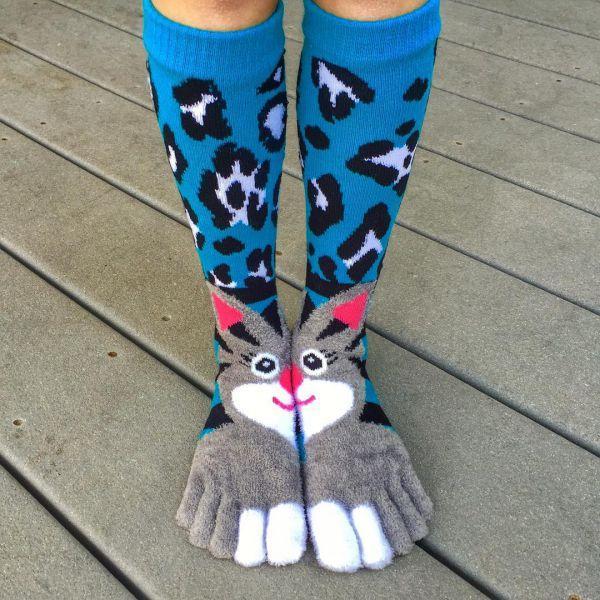 смешные носки с кроликом и пальцами