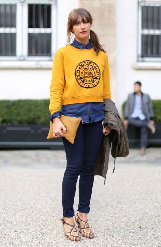 желтый женский свитшот на рубашку