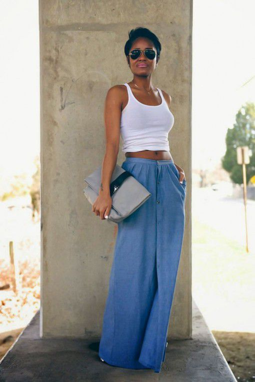 прикольная летняя майка-алкоголичка и длинная джинсовая юбка