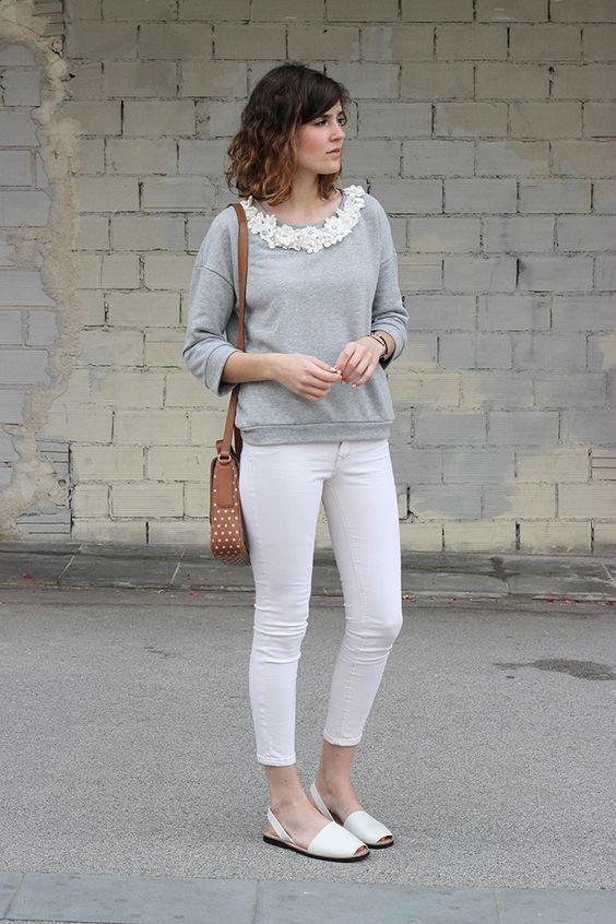 женские свитшоты с белыми брюками