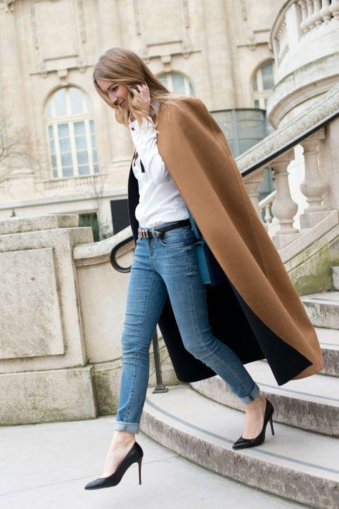 длинный кейп накидка с джинсами фото лук