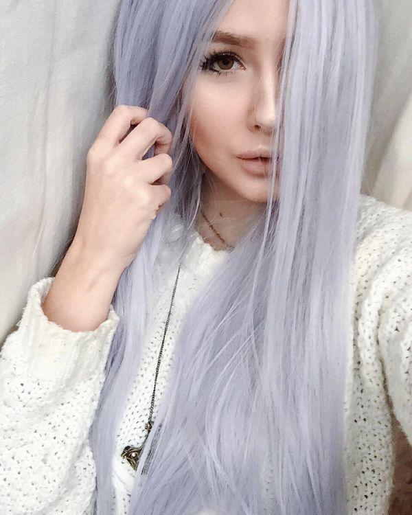 серебряный седой цвет волос фото