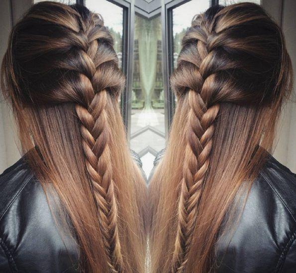 прическа с косой и распущенными волосами фото