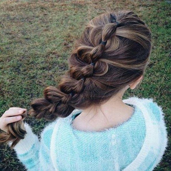 прическа коса из резиночек