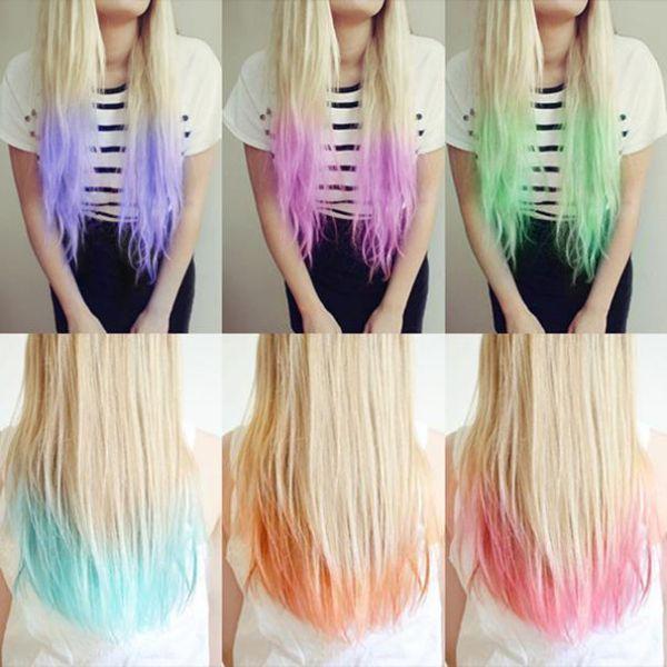 модный цвет волос - цветное омбре