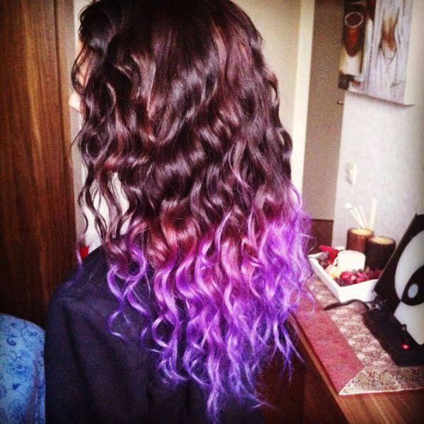 фиолетовые кончики волос фото