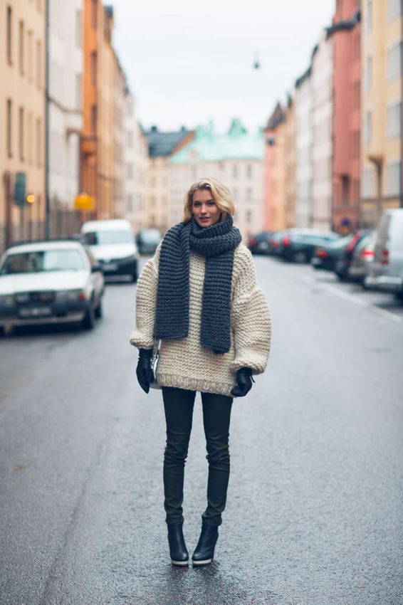 вязанные шарфы оверсайз