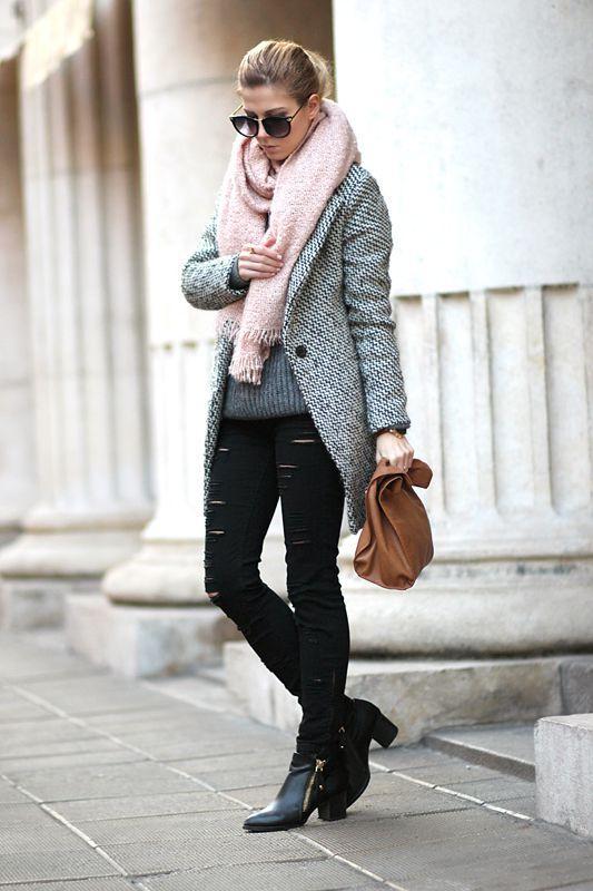осеннее пальто с шарфом