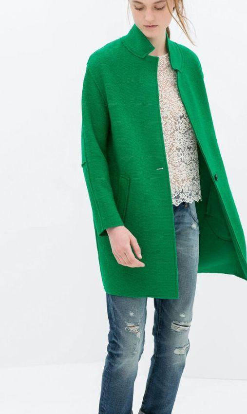 женское зеленое пальто сезона весна 2019