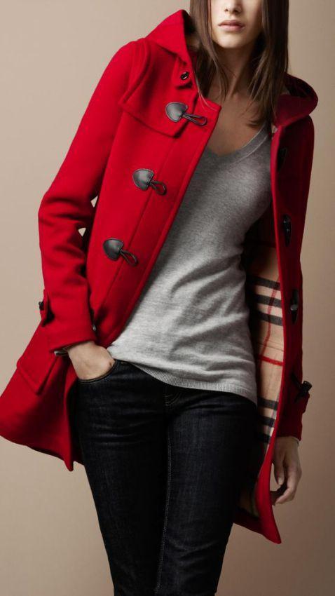 модные красные женские пальто фото