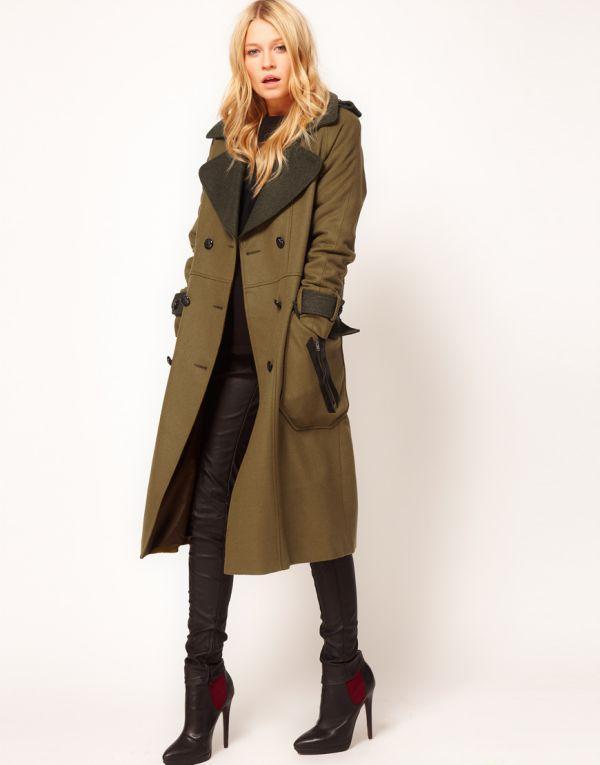 женское пальто милитари фото
