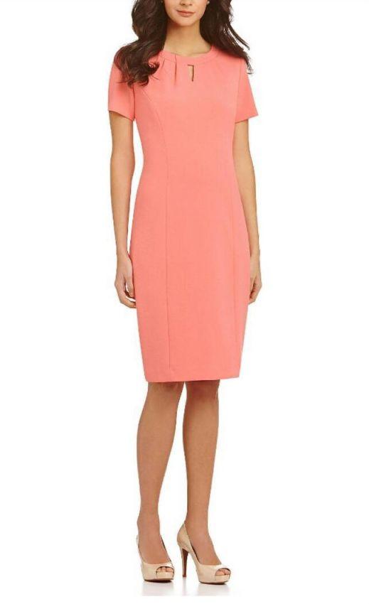 розовое платье-футляр миди фото