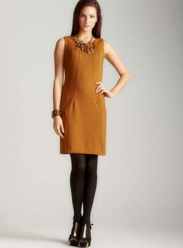 горчичное повседневное платье-футляр