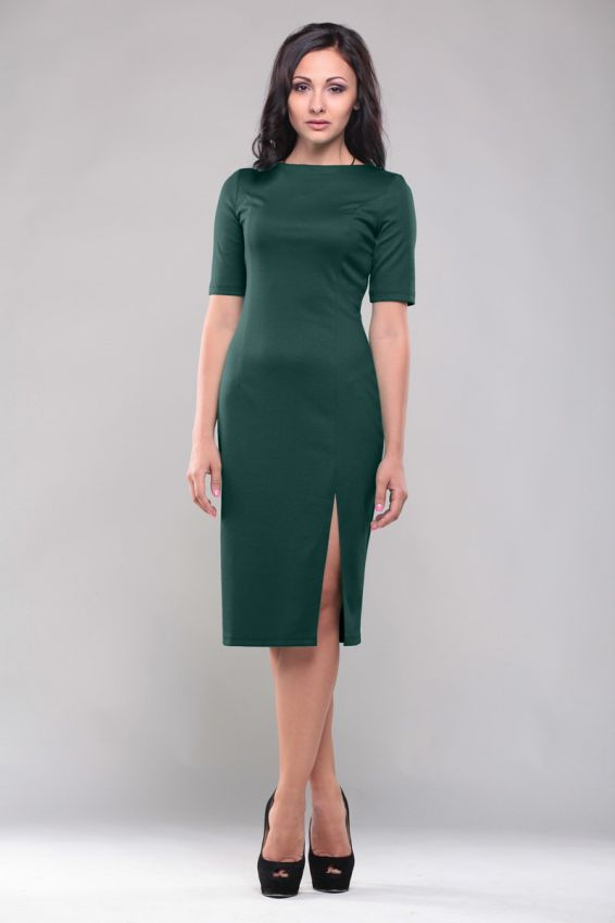 темно зеленое повседневное платье-футляр