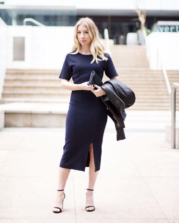 длинное черное офисное платье-футляр