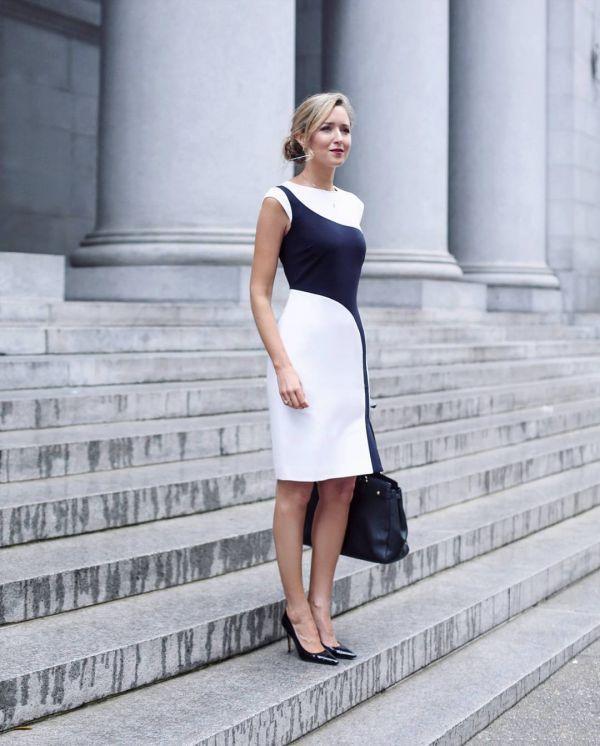 черно-белое офисное платье футляр