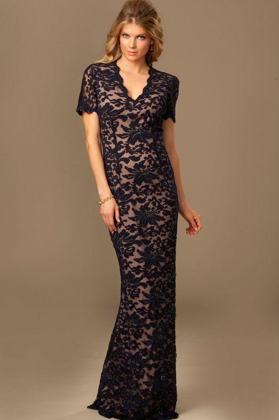 черное вечернее платье футляр с кружевом фото