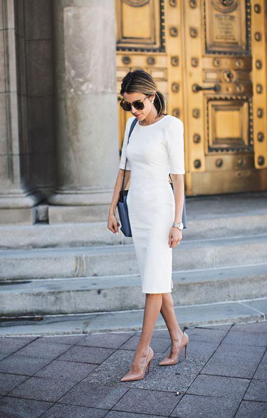 белое платье футляр миди