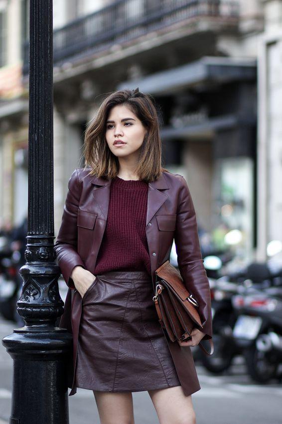 женские кожаные пальто 2018 цвета марсала