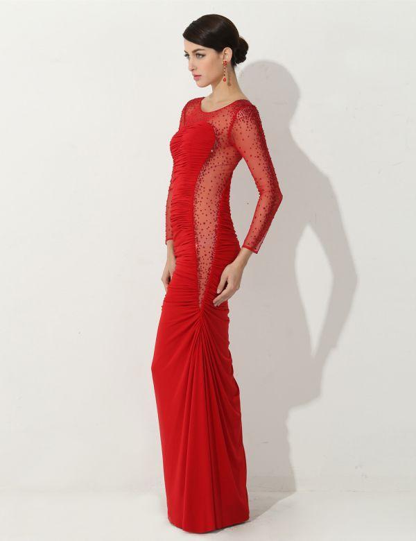 красное вечернее платье футляр