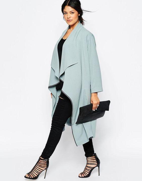 голубое пальто для полных весна 2019