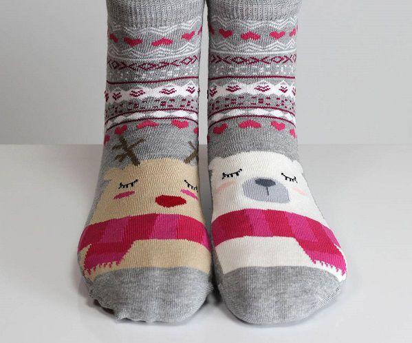 новогодние носки с мишками и оленями
