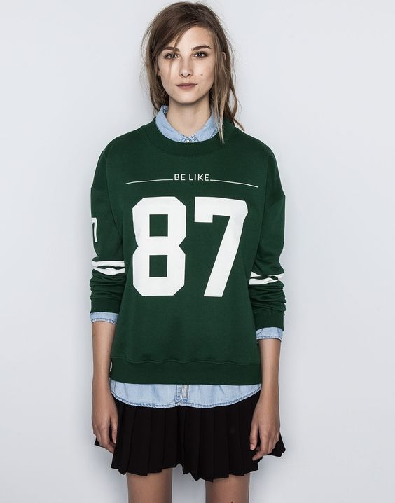 зеленые женские свитшоты с номерами