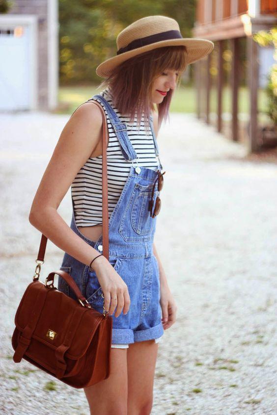 джинсовый летний комбинезон шортами для девушек модный образ